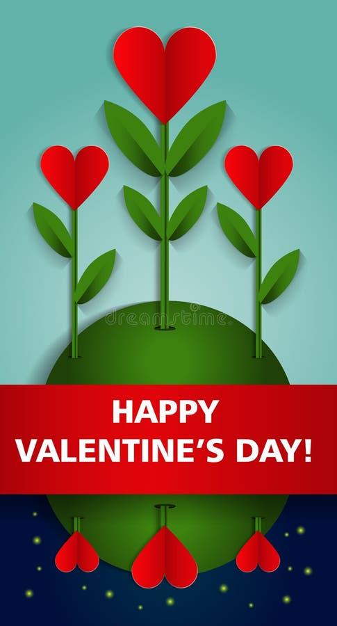 Affiche heureuse de partie de jour de valentines Descripteur de conception illustration de vecteur