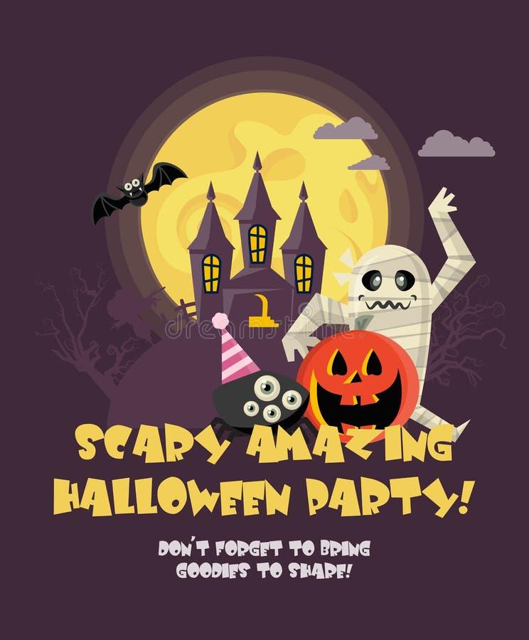 Affiche heureuse de partie de vecteur de Halloween Laissez le ` s obtenir sauvage et fou illustration de vecteur