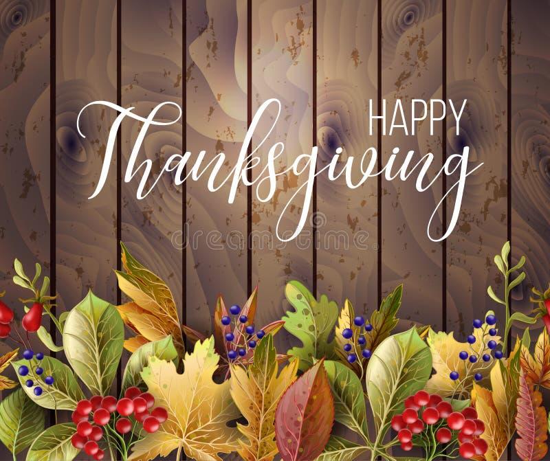 Affiche heureuse de thanksgiving avec des feuilles d'automne sur le fond en bois Illustration de vecteur illustration de vecteur