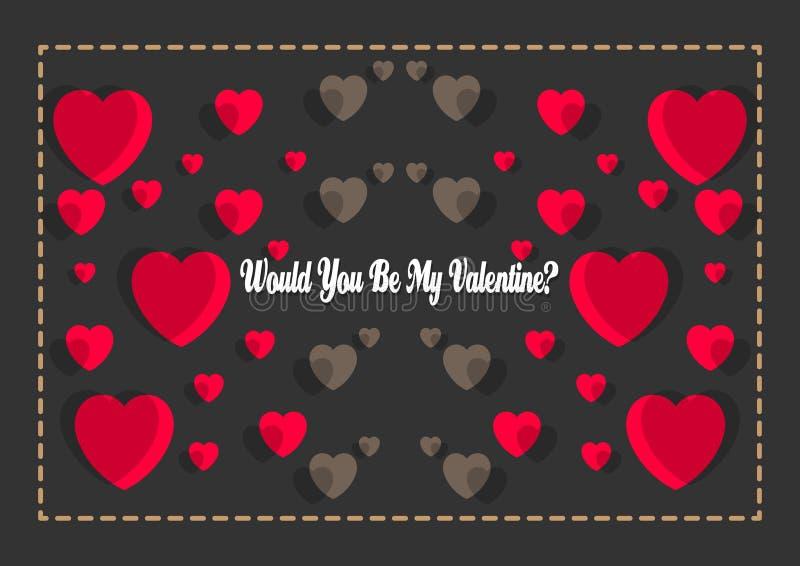 Affiche heureuse de typographie de jour de valentines avec manuscrit seriez-vous ma valentine ? illustration libre de droits
