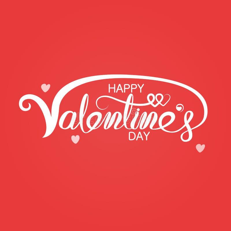 Affiche heureuse de typographie de jour de valentines Texte manuscrit de calligraphie Logo romantique de carte de voeux de valent illustration stock