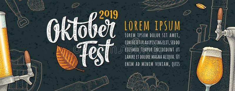 Affiche horizontale au festival 2019 oktoberfest Gravure de vecteur de couleur de vintage illustration libre de droits