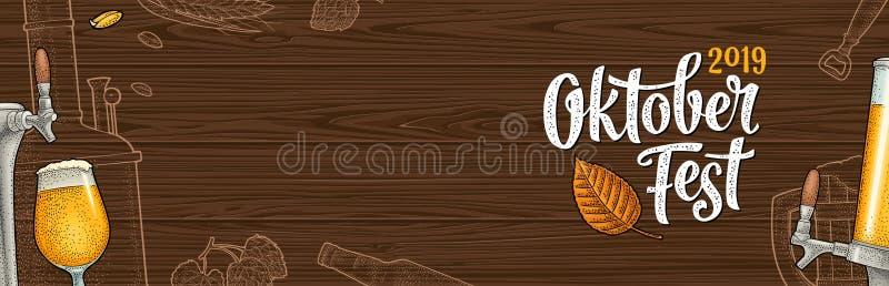 Affiche horizontale au festival 2019 oktoberfest Gravure de vecteur de couleur de vintage illustration stock