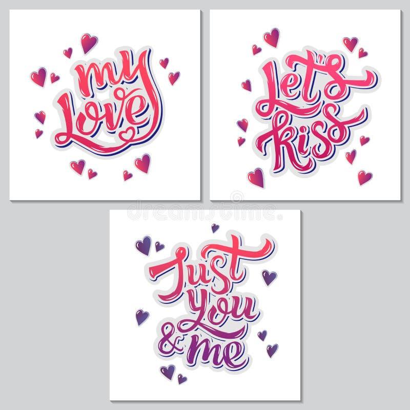 Affiche inspirée de motivation de lettrage de main pour le jour de Valentine's illustration de vecteur
