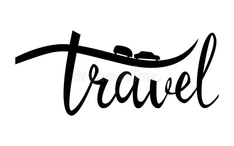 Affiche inspirée typographique de voyage Logo linéaire de camping illustration libre de droits
