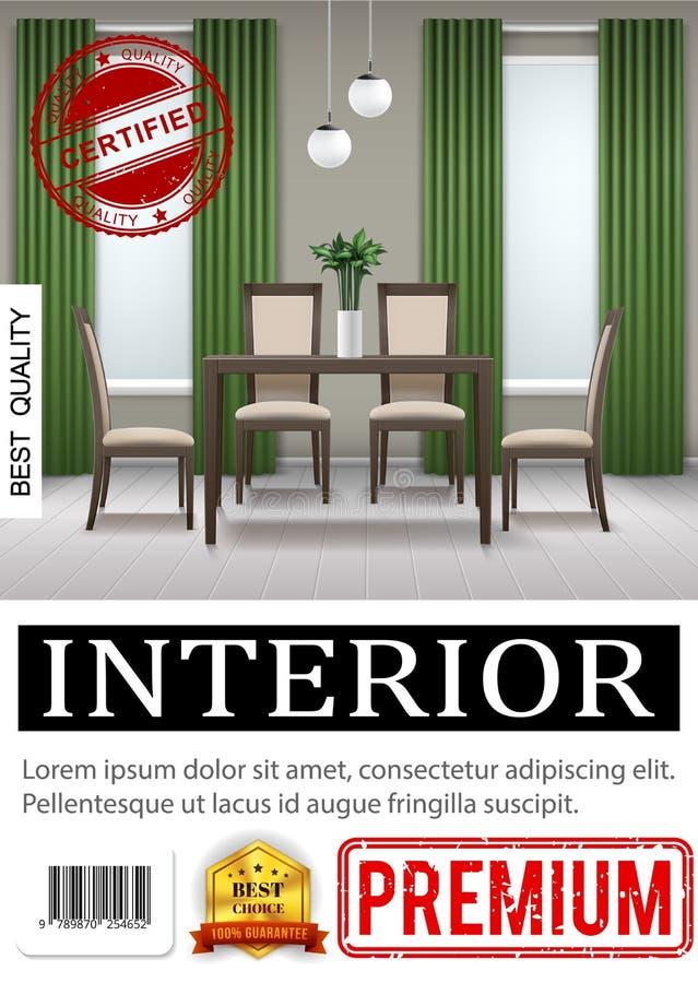 Affiche intérieure à la maison classique réaliste illustration de vecteur