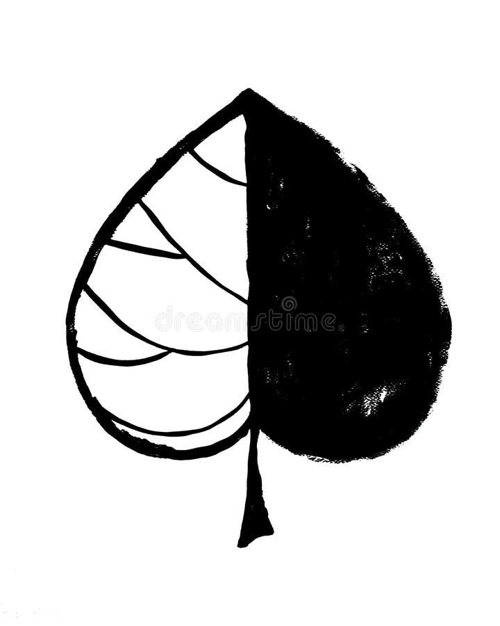 Affiche intérieure abstraite grunge noire avec la feuille illustration stock