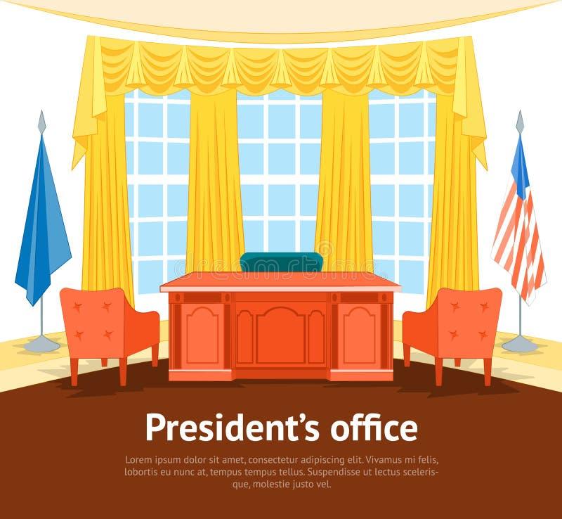 Affiche intérieure de carte du Président bureau du gouvernement de bande dessinée avec des meubles Vecteur illustration libre de droits