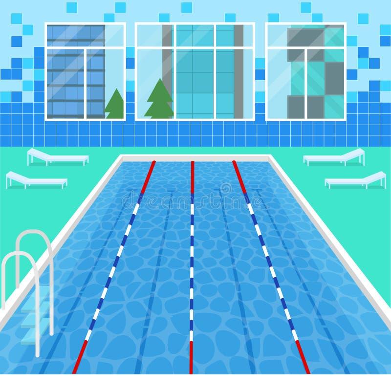 Affiche intérieure de carte de piscine de bande dessinée Vecteur illustration stock