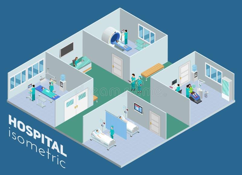 Affiche intérieure de vue d'hôpital médical isométrique illustration stock