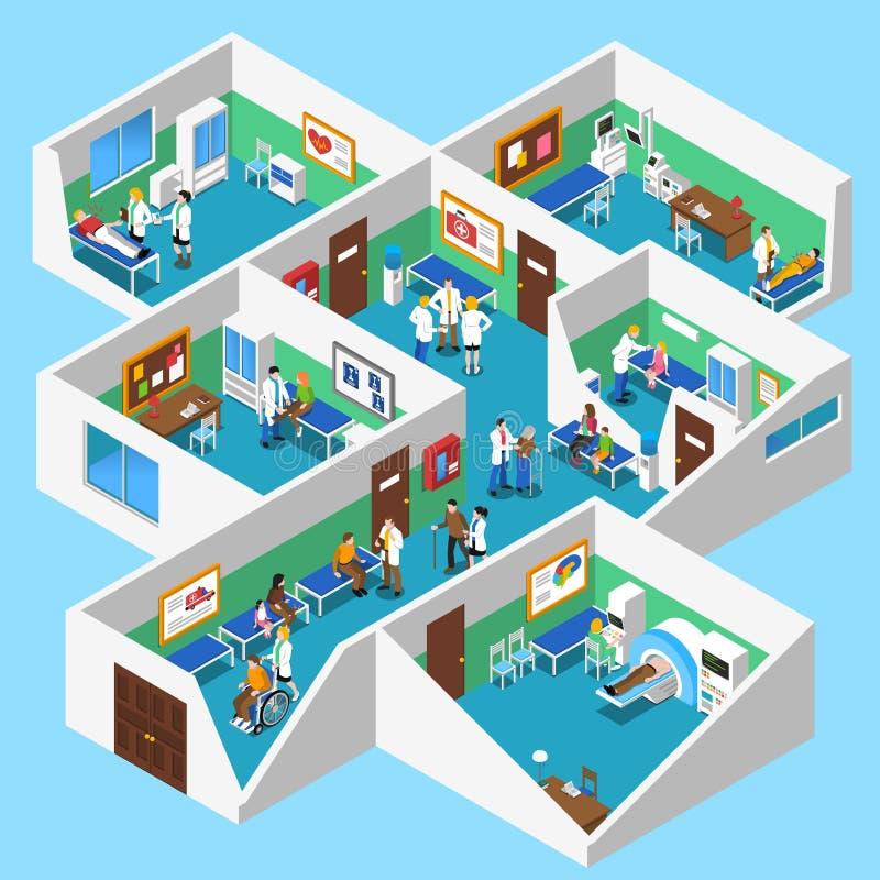 Affiche intérieure de vue isométrique d'équipements d'hôpital illustration de vecteur