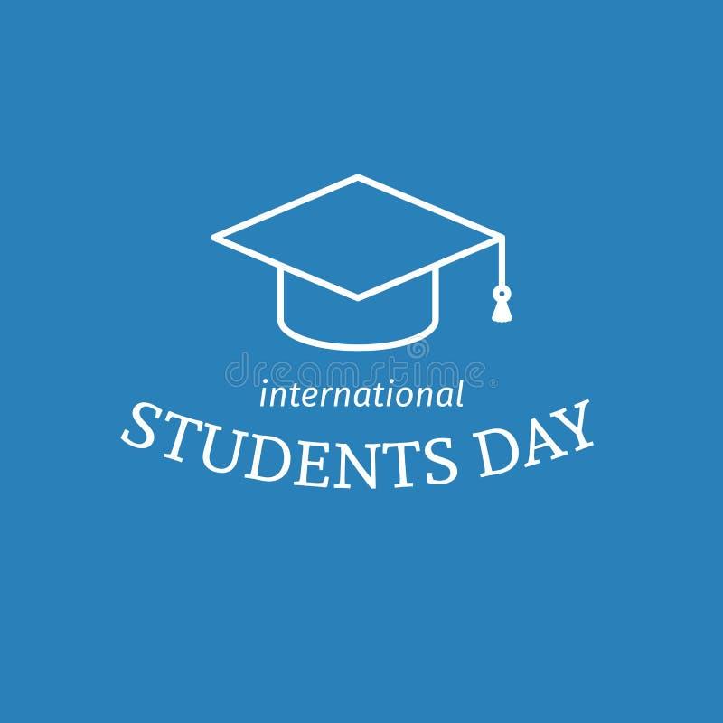 Affiche internationale de jour d'étudiants illustration stock