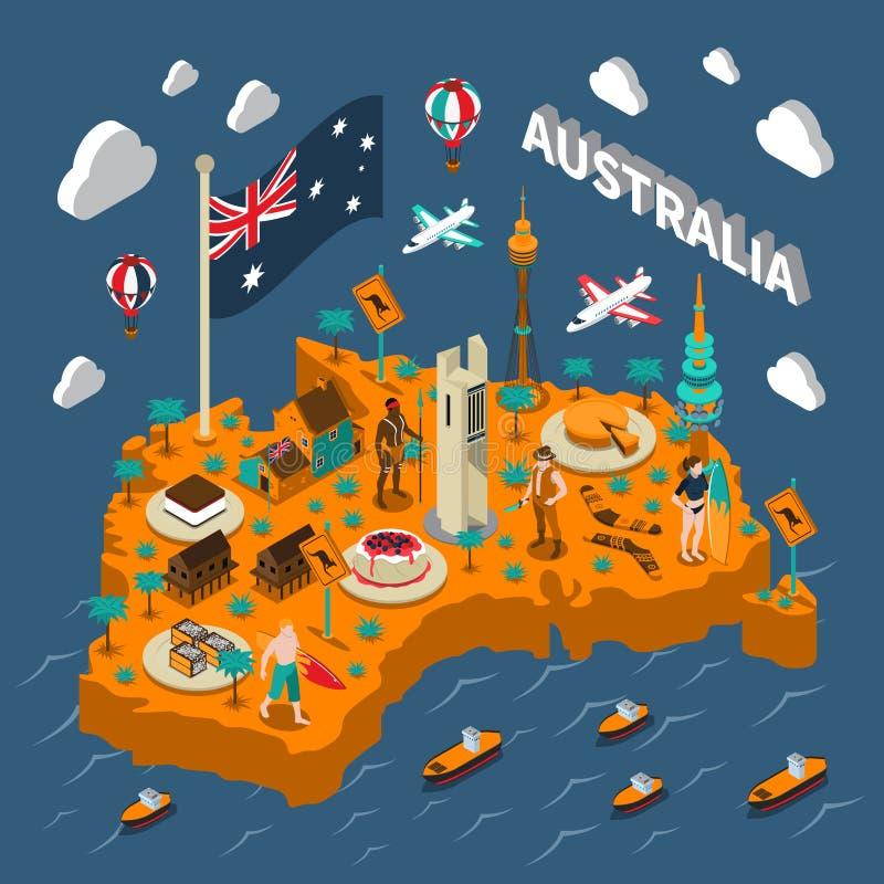 Affiche isométrique de carte d'attractions touristiques d'Australie illustration stock