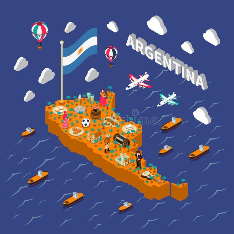 Affiche isométrique de carte d'attractions touristiques de l'Argentine illustration stock