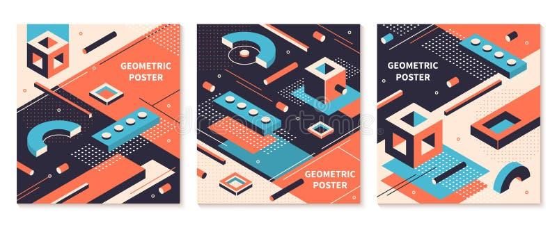 Affiche isom?trique de formes 3D brochures g?om?triques abstraites, milieux futuristes de technologie Ensemble isom?trique de cou illustration stock