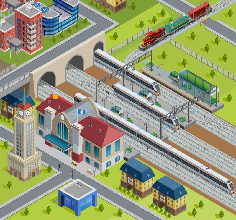 Affiche isométrique de gare ferroviaire de train illustration de vecteur