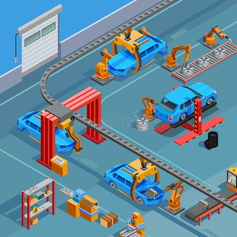 Affiche isométrique des véhicules à moteur de système de fabrication de convoyeur illustration de vecteur