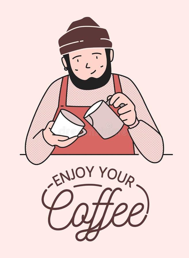 Affiche of kaart het malplaatje met leuke het glimlachen barista die koffie maken en geniet van Uw Koffiewens Grappige gelukkige  stock illustratie