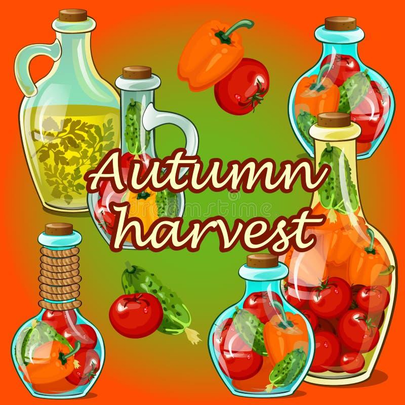 Affiche of kaart met decoratieve glasflessen met ingelegde rijpe groenten Thema van oogst en thanksgiving day Vector vector illustratie