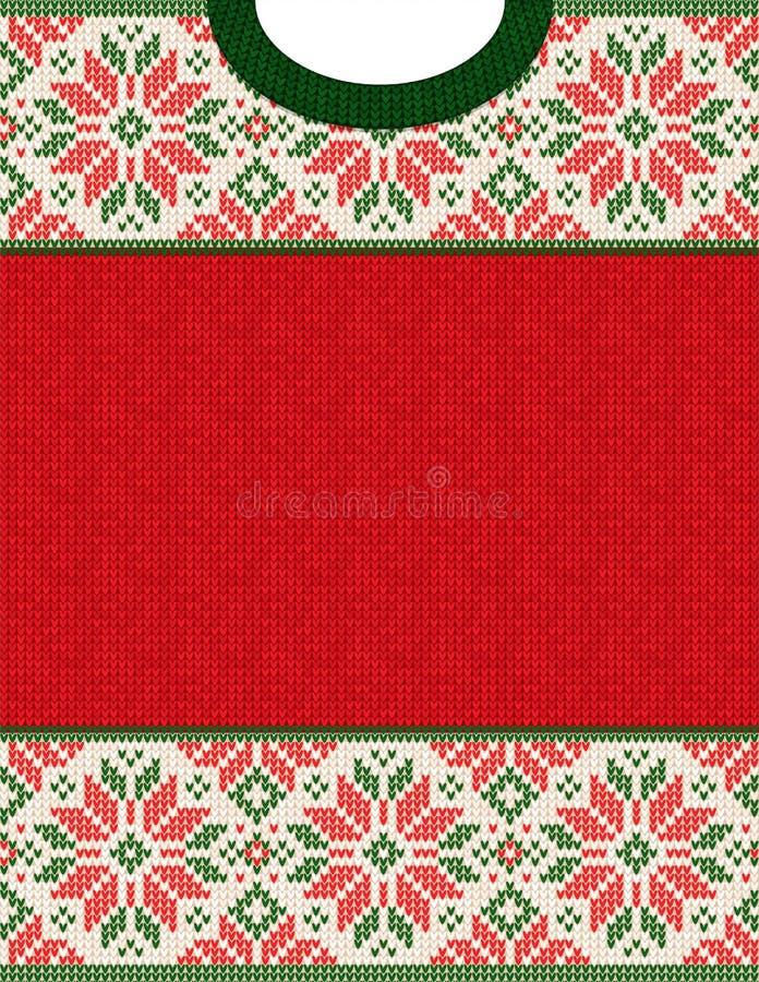 Affiche laide de vente d'hiver de saison de chandail Ornements tricotés de Scandinave de modèle de fond illustration stock