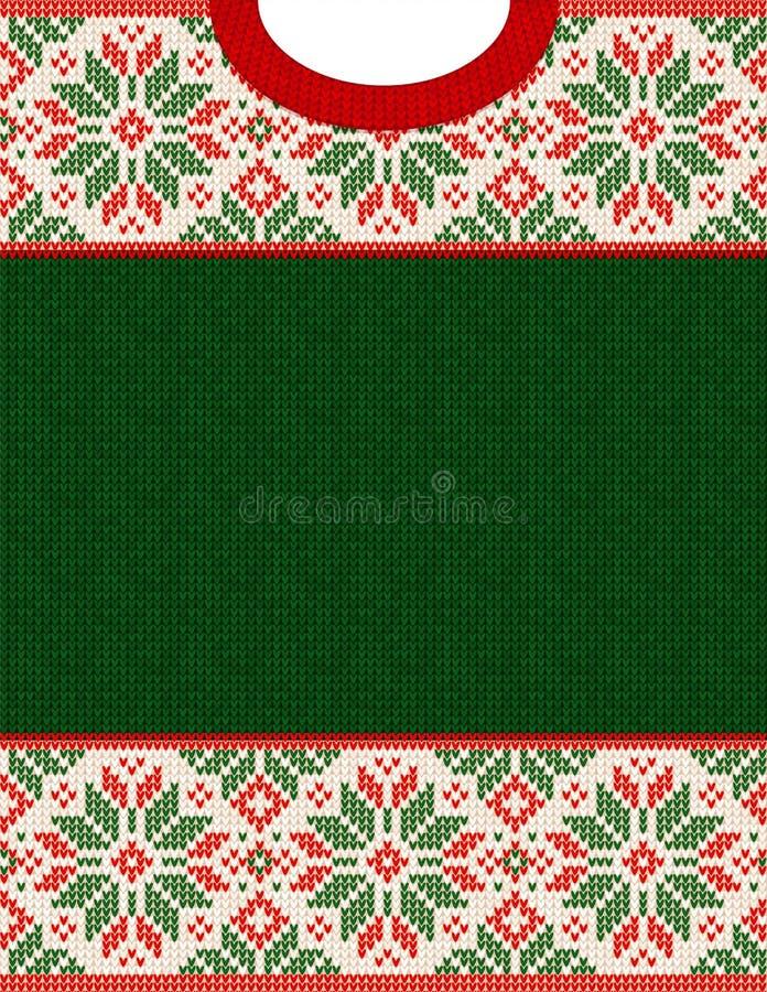 Affiche laide de vente d'hiver de saison de chandail Ornements tricotés de Scandinave de modèle de fond illustration libre de droits
