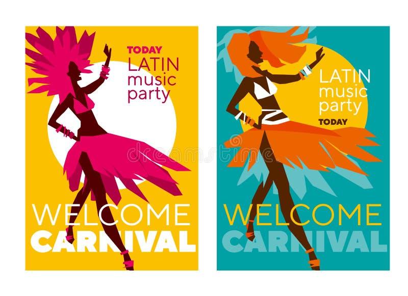 Affiche latine de carnaval de musique illustration libre de droits