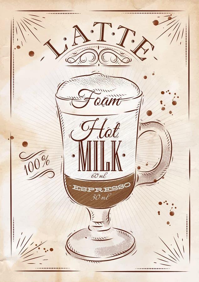 Affiche latte kraftpapier vector illustratie