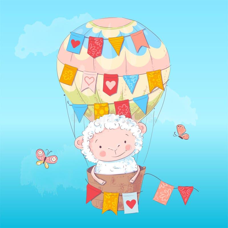 Affiche leuk lam in een ballon De tekening van de hand stock illustratie
