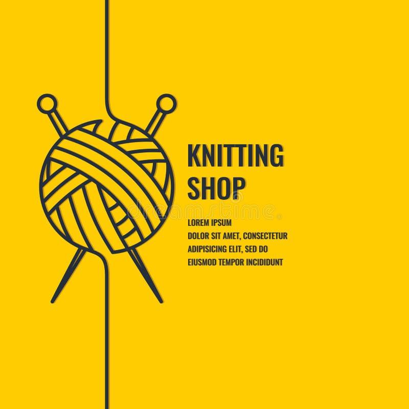 Affiche linéaire de Minimalistic pour la boutique de tricotage illustration de vecteur