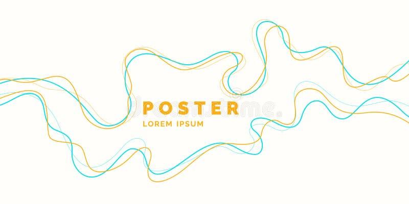 Affiche lumineuse avec les vagues dynamiques Style plat minimal d'illustration illustration de vecteur