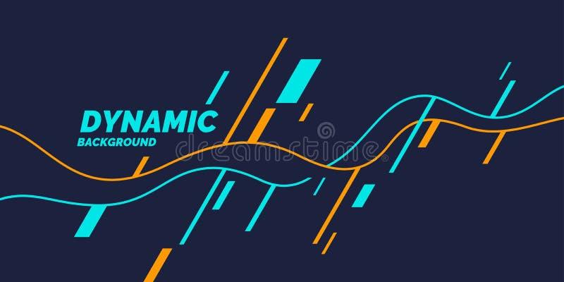 Affiche lumineuse avec les vagues dynamiques Style plat minimal d'illustration illustration stock