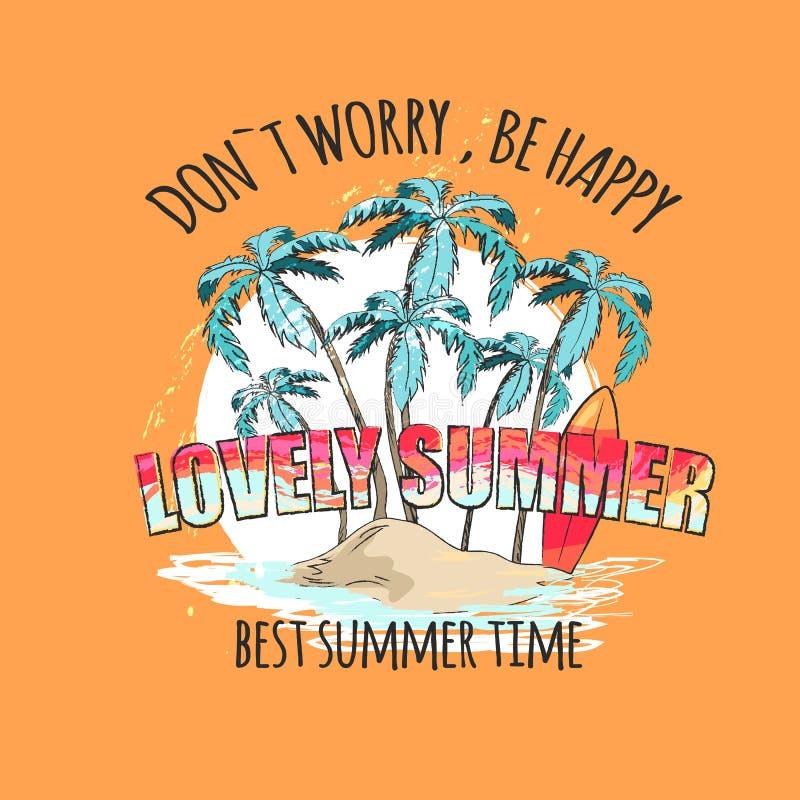 Affiche lumineuse de bel été avec des paumes sur l'île illustration de vecteur