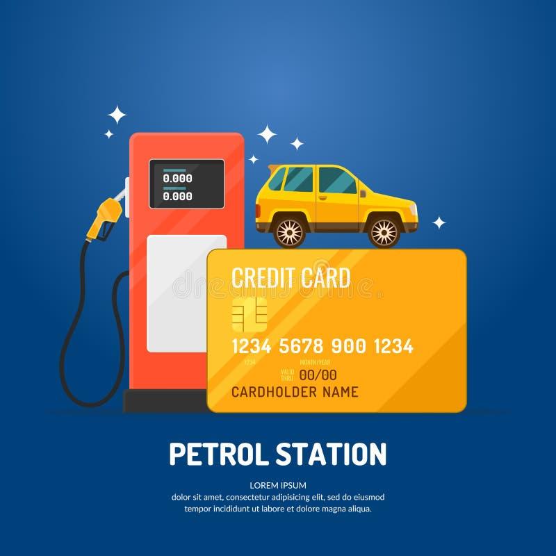 Affiche lumineuse de la publicité sur le thème de la station service illustration de vecteur