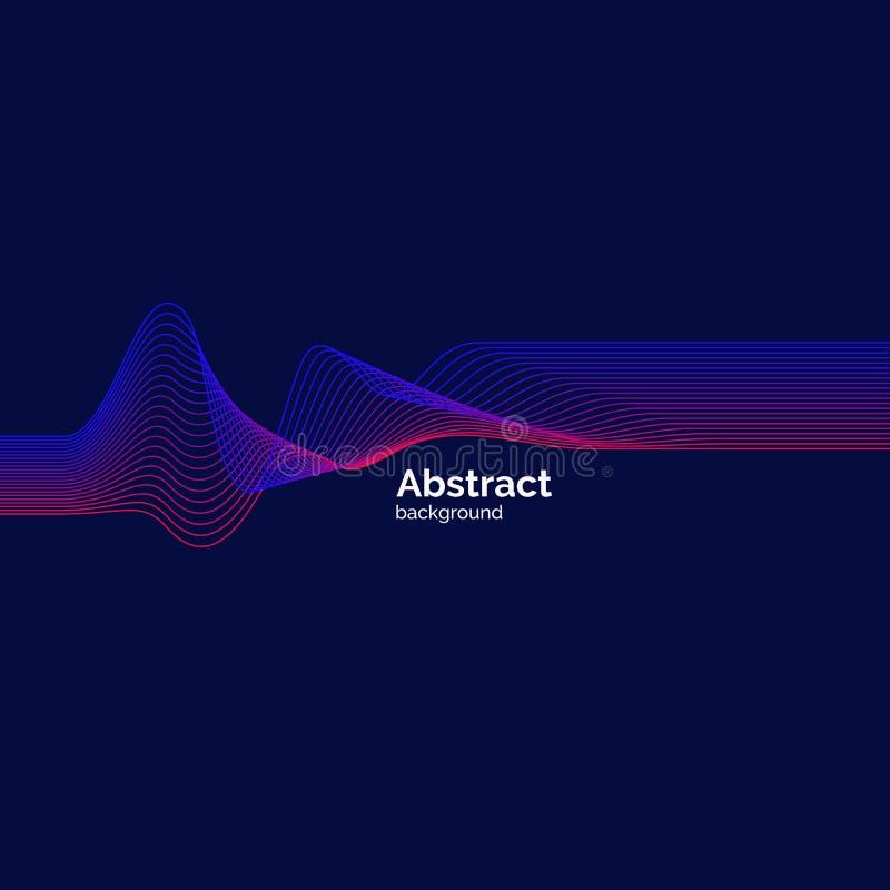 Affiche lumineuse de musique avec les vagues dynamiques Illustration de vecteur illustration de vecteur