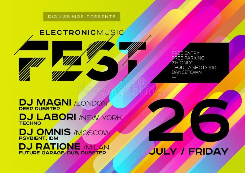 Affiche lumineuse du DJ pour l'air ouvert Couverture de musique électronique pour l'été illustration stock