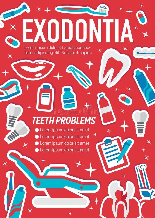 Affiche médicale d'exodontia de chirurgie dentaire illustration libre de droits