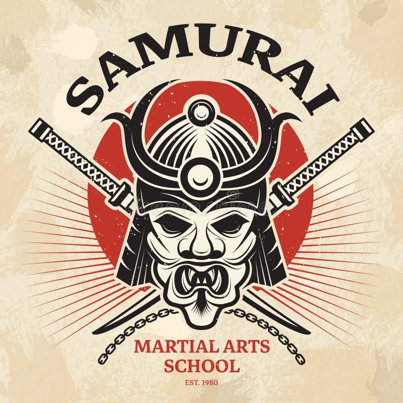 Affiche martiale japonaise Masque asiatique agressif de guerrier pour la conception de plaquette de vecteur d'épée de katana de c illustration stock