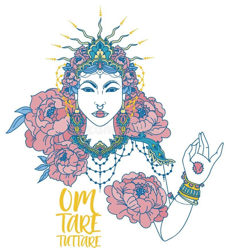 affiche met boeddhistische mantra ` om tarra tuttare ` en mooie vrouwelijke godin vector illustratie