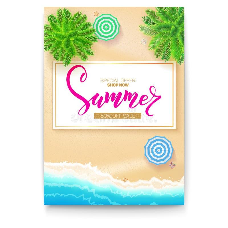 Affiche met de kust van het de zomerstrand voor toeristische gebeurtenissen, reisbureauacties Tropisch landschap, oceaan, gouden  stock illustratie