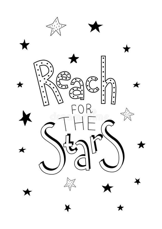 Affiche met een het van letters voorzien uitdrukkingsbereik voor de sterren stock illustratie