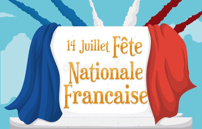 Affiche met Franse Vlag en Airshow-Rook die Bastille-Dag, Vectorillustratie vieren royalty-vrije illustratie