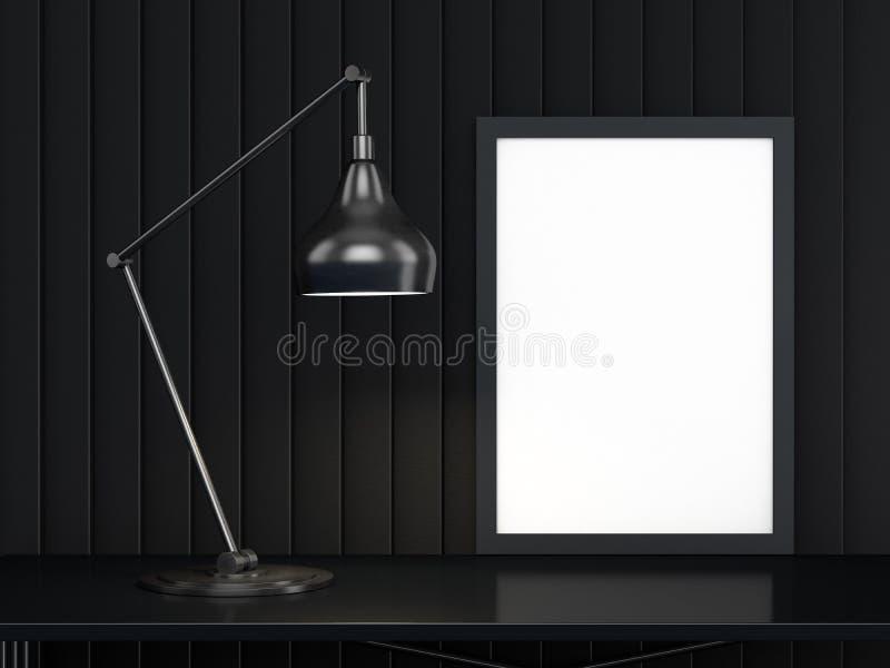 Affiche met Kadermodel in binnenland 3d vector illustratie