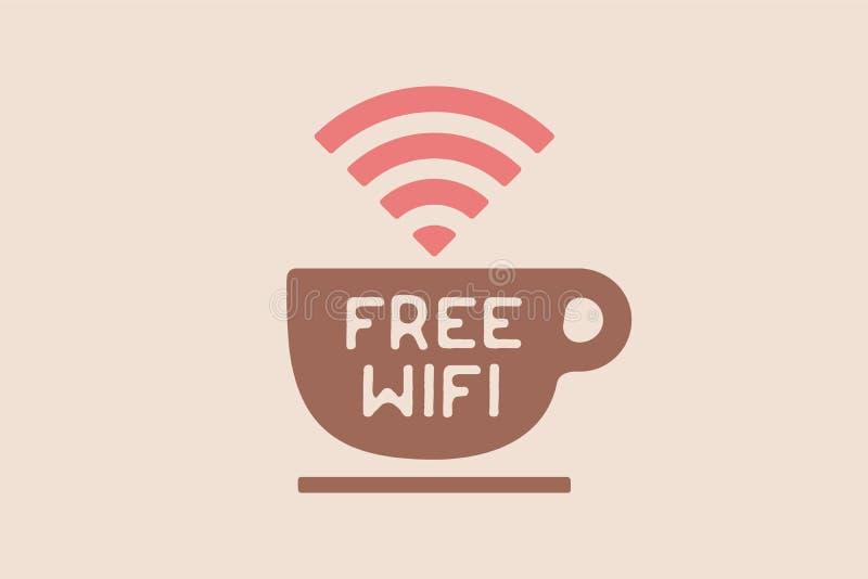 Affiche met kop van koffie en tekst Vrij WiFi royalty-vrije illustratie