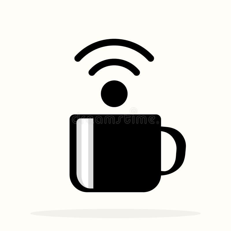 Affiche met kop van koffie en tekst Vrij WiFi voor straatkoffie Het gebiedsteken van teken vrij wifi op een koffiekop Vector illu vector illustratie