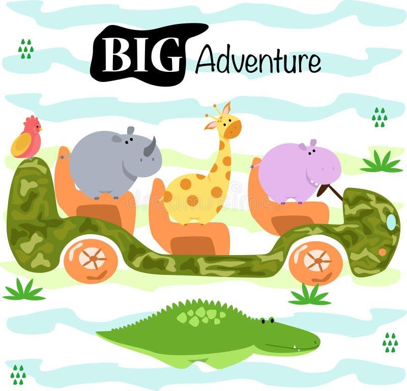 Affiche met leuke dieren door auto - vectorillustratie, eps stock illustratie