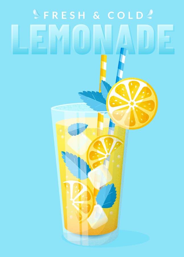 Affiche met limonade op een blauwe achtergrond royalty-vrije illustratie