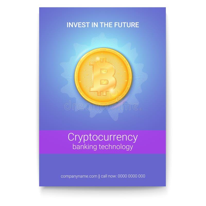 Affiche met reclame van virtuele munt Bitcoin Pictogram van geld, gouden digitaal muntstuk Ontwerp van banner met stock illustratie