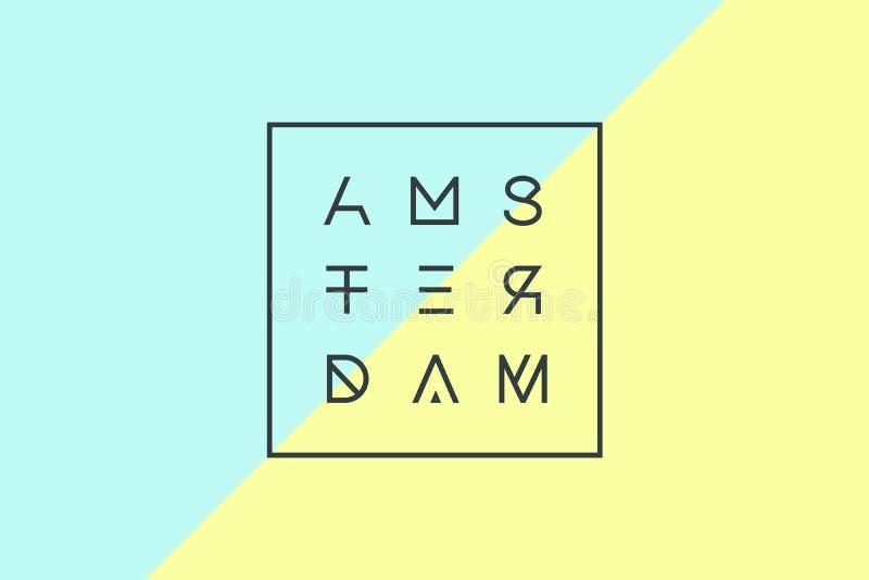 Affiche met tekst Amsterdam, Nederland in geometrische stijl vector illustratie