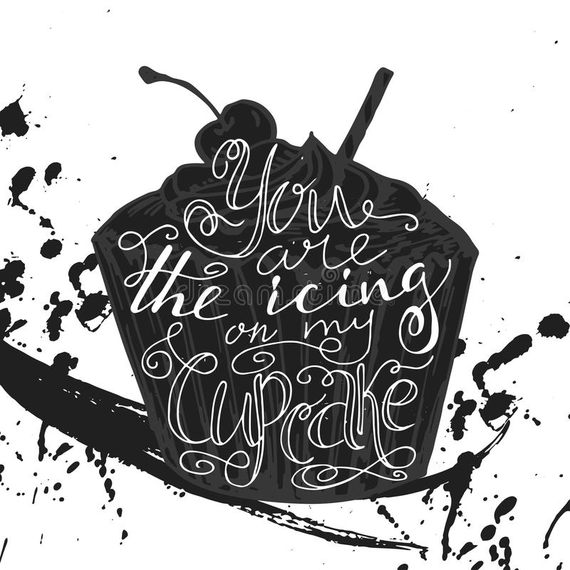 Affiche met typografisch citaat op dessertsilhouet Vectorillustratie voor prentbriefkaar Bakkerijinzameling Achtergrond met creat stock illustratie