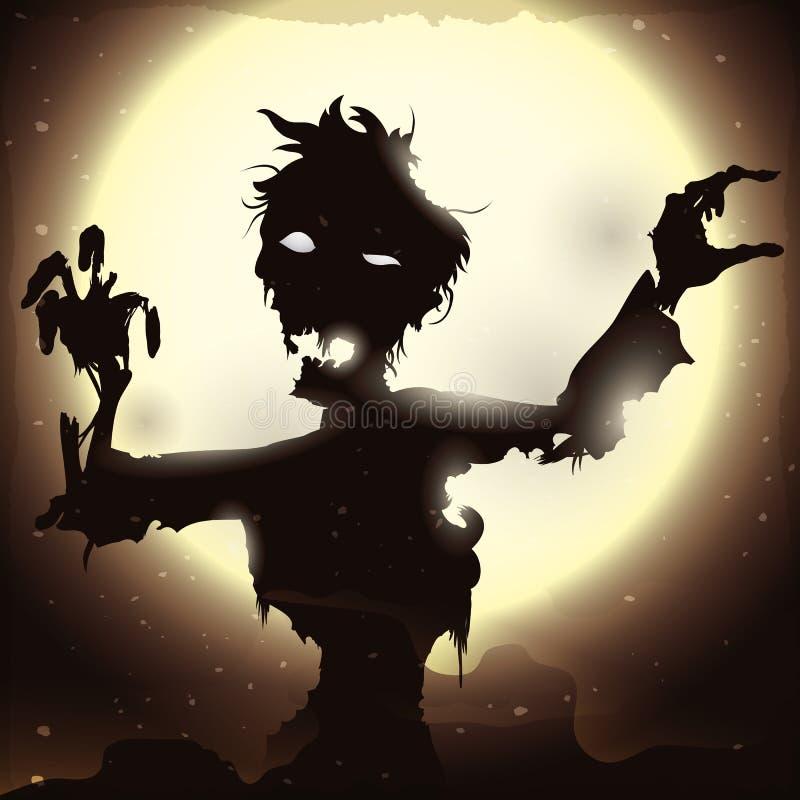 Affiche met Zombie die in een Volle maannacht toenemen, Vectorillustratie vector illustratie